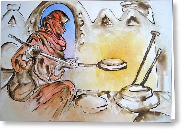 At Work Drawings Greeting Cards - Egyptian Bread Making Greeting Card by Myra Evans