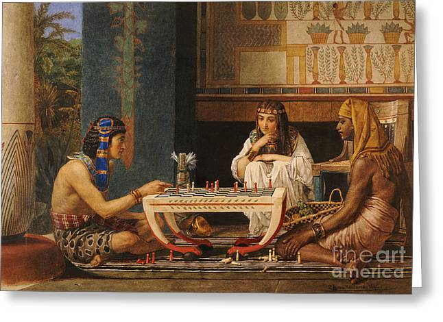 Past Paintings Greeting Cards - Egyptian Chess Players Greeting Card by Sir Lawrence Alma-Tadema
