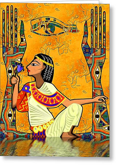 Horus Greeting Cards - Egyptian Fusion Greeting Card by Sharon and Renee Lozen