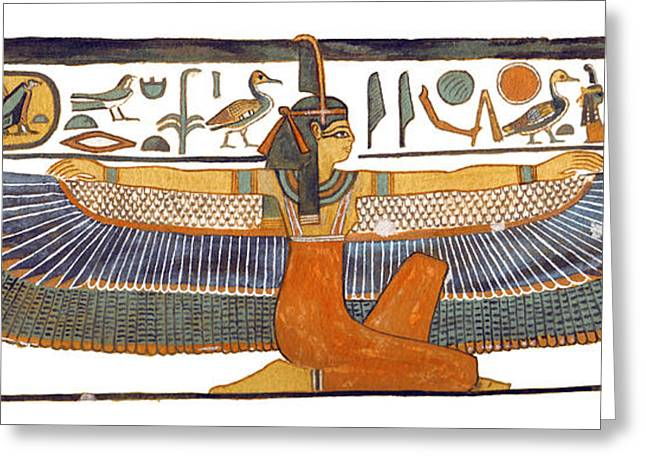 Ancient Egypt Greeting Cards - Egyptian Goddess Maat with Outstretched Wings Greeting Card by Ben  Morales-Correa