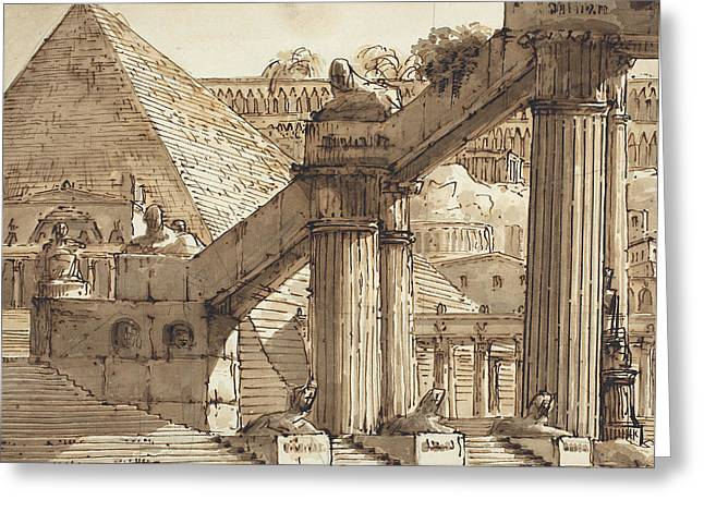 Egyptian Stage Design Greeting Card by Pietro Gonzaga