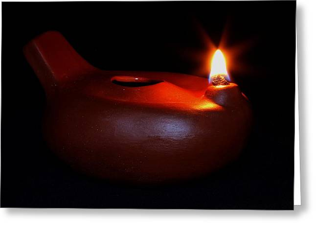 Oil Lamp Ceramics Greeting Cards - Egyptian Style Lamp - Terracotta 12 Greeting Card by Robert Morin