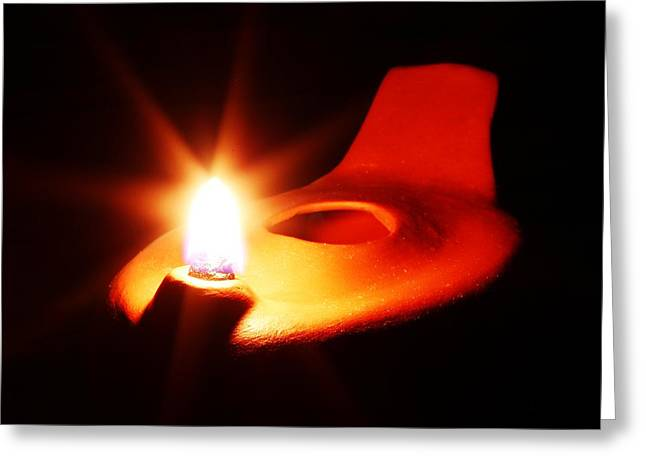 Oil Lamp Ceramics Greeting Cards - Egyptian Style Lamp - Terracotta 4 Greeting Card by Robert Morin