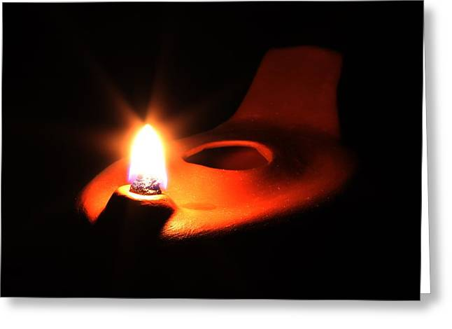 Oil Lamp Ceramics Greeting Cards - Egyptian Style Lamp - Terracotta 5 Greeting Card by Robert Morin