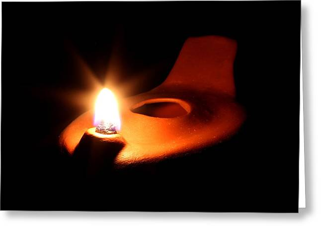 Oil Lamp Ceramics Greeting Cards - Egyptian Style Lamp - Terracotta 7 Greeting Card by Robert Morin
