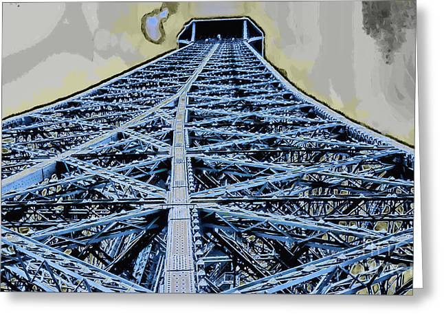 Puddle Iron Greeting Cards - Eiffel Tower 2 Greeting Card by GabeZ Art
