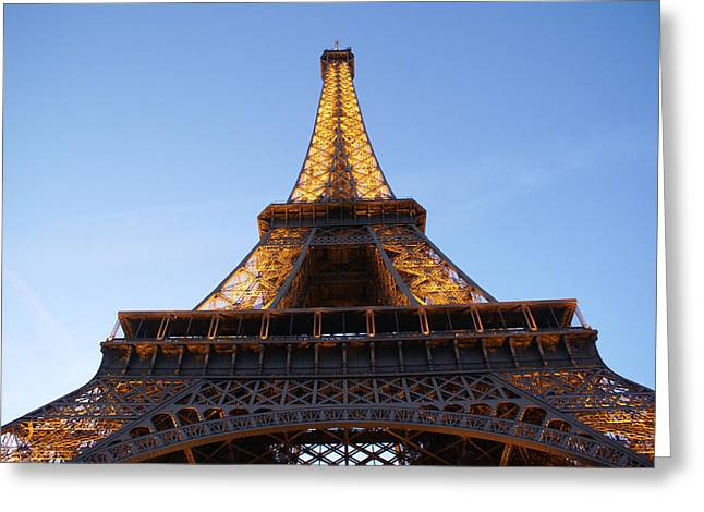 Tower Greeting Cards - Eiffel Tower at dusk Greeting Card by Leonard Rosenfield