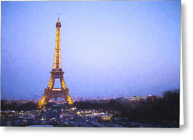 Famous Cities Greeting Cards - Eiffel Tower at Dusk Van Gogh Style Greeting Card by David Smith
