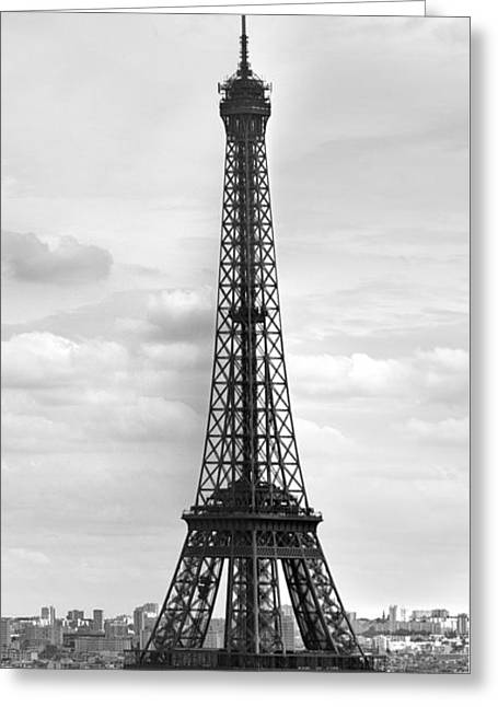 Distance Greeting Cards - Eiffel Tower BLACK AND WHITE Greeting Card by Melanie Viola