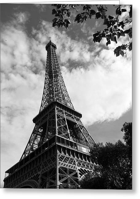 Nature Study Greeting Cards - Eiffel Tower Black and White Greeting Card by Sierra Vance