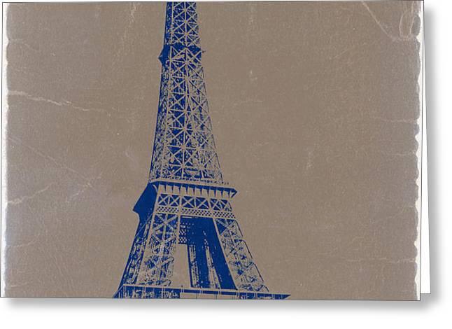 EIFFEL TOWER BLUE Greeting Card by Naxart Studio