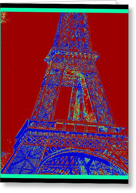 Antenna Drawings Greeting Cards - Eiffel Tower Carnival Greeting Card by Irving Starr