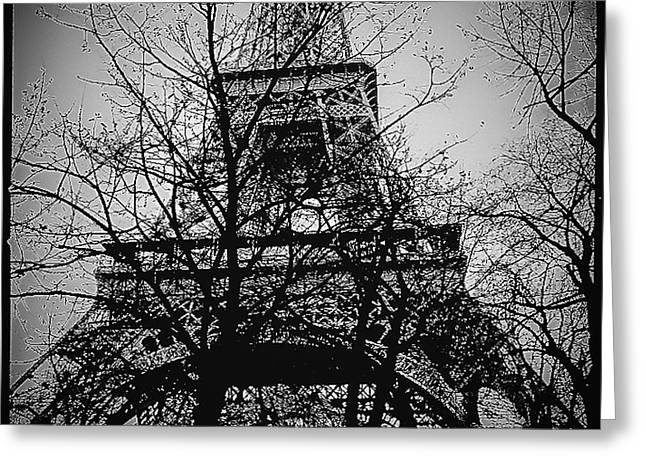 People Pyrography Greeting Cards - Eiffel Tower during the winter. Greeting Card by Cyril Jayant