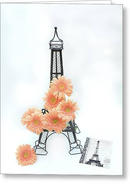 Eiffel Tower Peach Gerber Daisies Cottage Decor - Eiffel Tower Floral Daisies Still Life Decor Greeting Card by Kathy Fornal