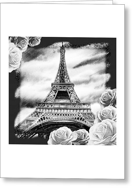 Decorate Greeting Cards - Eiffel Tower In Black And White Design III Greeting Card by Irina Sztukowski