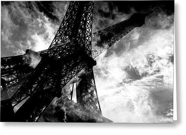 White Pyrography Greeting Cards - Eiffel Tower In Clouds In Black And White. Greeting Card by Cyril Jayant