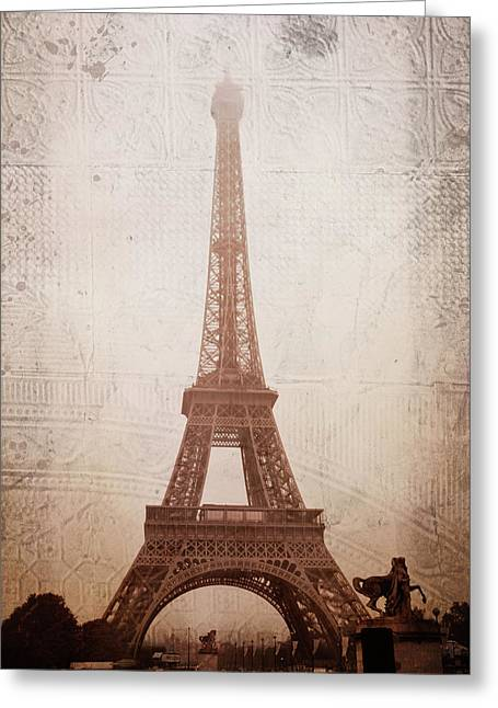 Eiffel Tower In The Mist Greeting Card by Christina Lihani