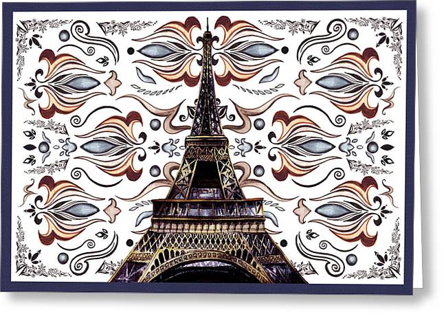Eiffel Greeting Cards - Eiffel Tower Mystic Laces III Greeting Card by Irina Sztukowski