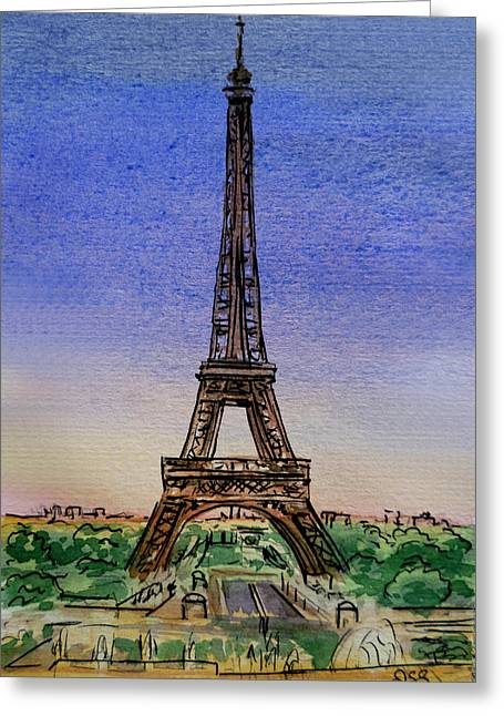 Eiffel Tower Paris France Greeting Card by Irina Sztukowski