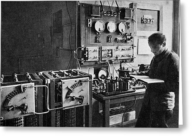 Equipment Greeting Cards - Eiffel Tower Radio Station, 1914 Greeting Card by