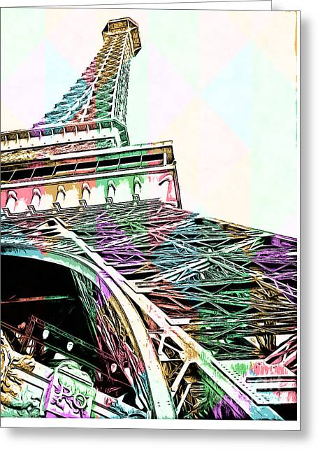 Las Vegas Greeting Cards - Eiffel Tower Rainbow Greeting Card by Edward Fielding