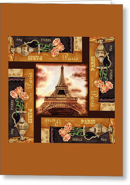 Decorate Greeting Cards - Eiffel Tower Roses Dance Greeting Card by Irina Sztukowski