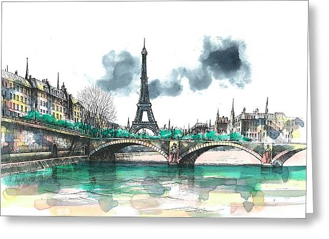 Paris Greeting Cards - Eiffel Tower Greeting Card by Seventh Son