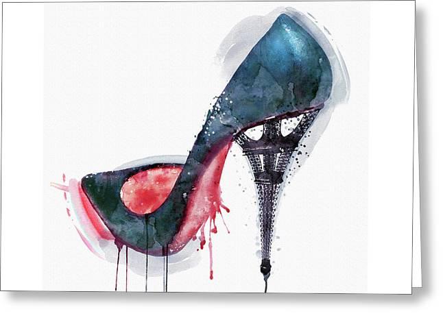 Eiffel Tower Shoe Greeting Card by Marian Voicu