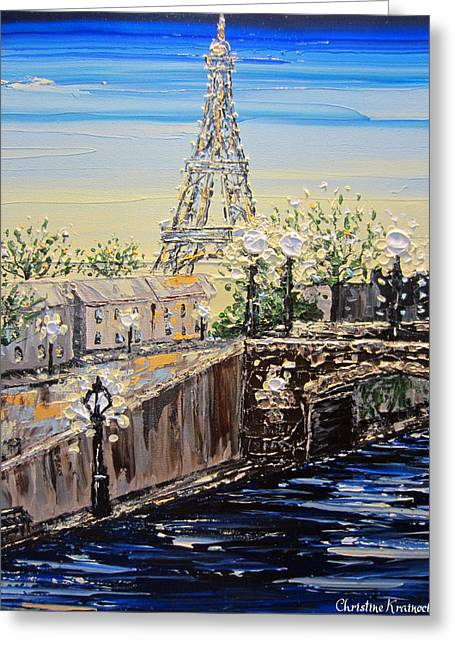 Artist Christine Krainock Greeting Cards - Eiffel Tower Sunset Greeting Card by Christine Krainock