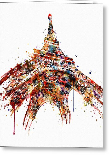 Eiffel Tower Watercolor Greeting Card by Marian Voicu
