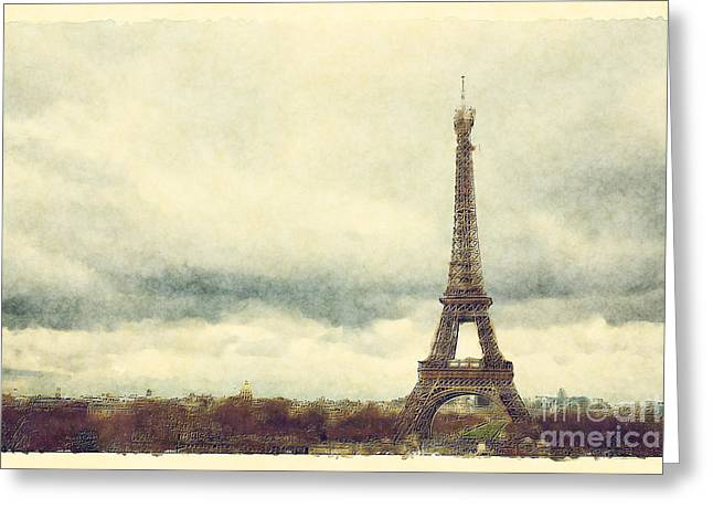 Beautiful Cities Greeting Cards - Eiffel Tower Watercolour Greeting Card by Jane Rix