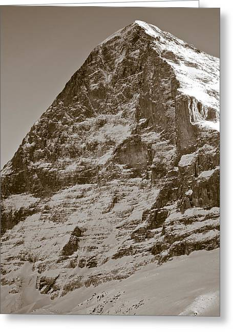 Black History Greeting Cards - Eiger North Face Greeting Card by Frank Tschakert