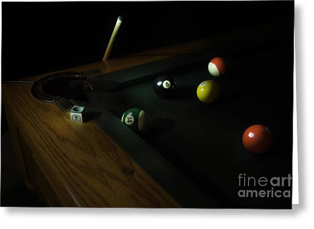 Cloth Greeting Cards - Eight Ball Greeting Card by Timothy Hacker