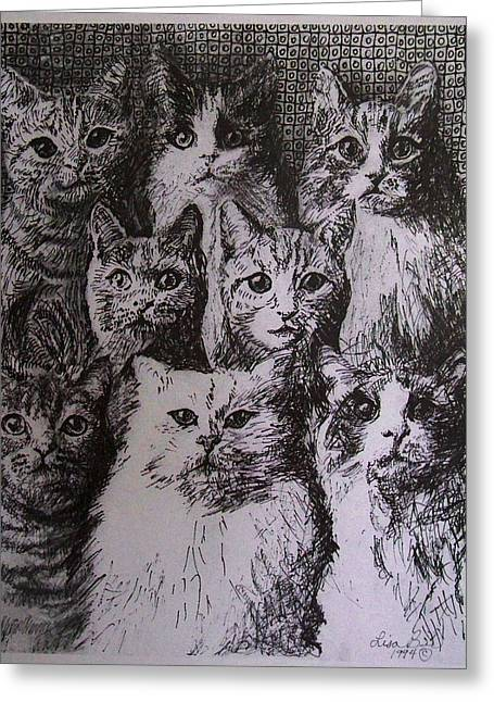 Drawings Of Cats Greeting Cards - Eight Cats  Greeting Card by Art By Lisabelle