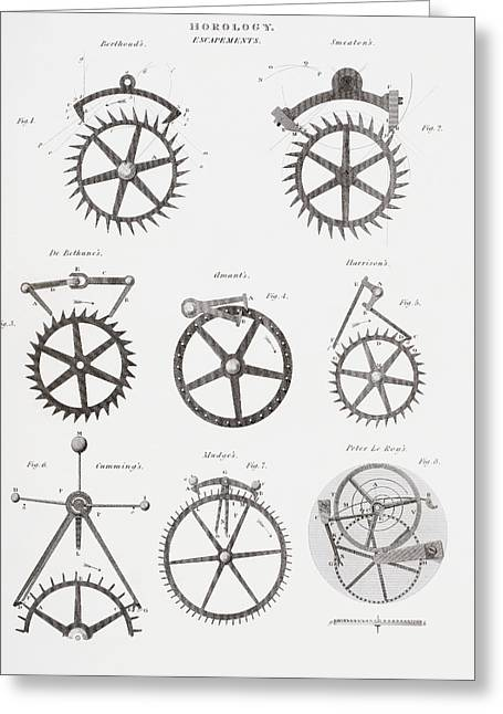 Mechanism Drawings Greeting Cards - Eight Different Escapement Systems By Greeting Card by Vintage Design Pics