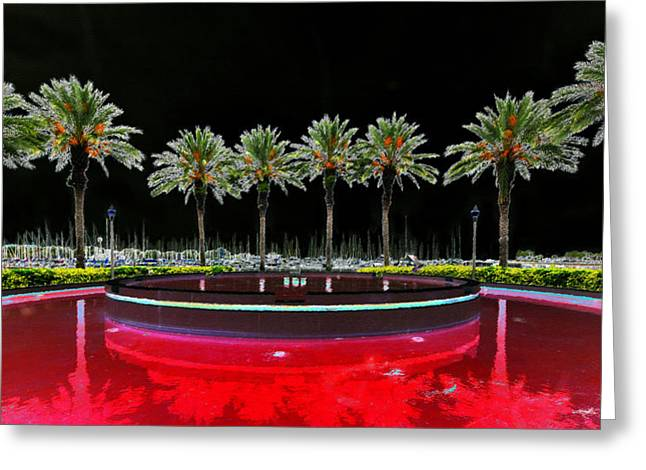 Surreal Landscape Greeting Cards - Eight Palms Drinking Wine Greeting Card by David Lee Thompson