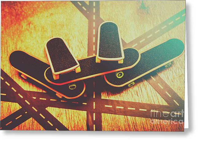 Eighties Street Skateboarders Greeting Card by Jorgo Photography - Wall Art Gallery