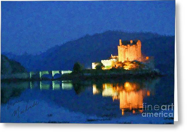 Famous Bridge Greeting Cards - Eilean Donan Castle Greeting Card by Diane Macdonald