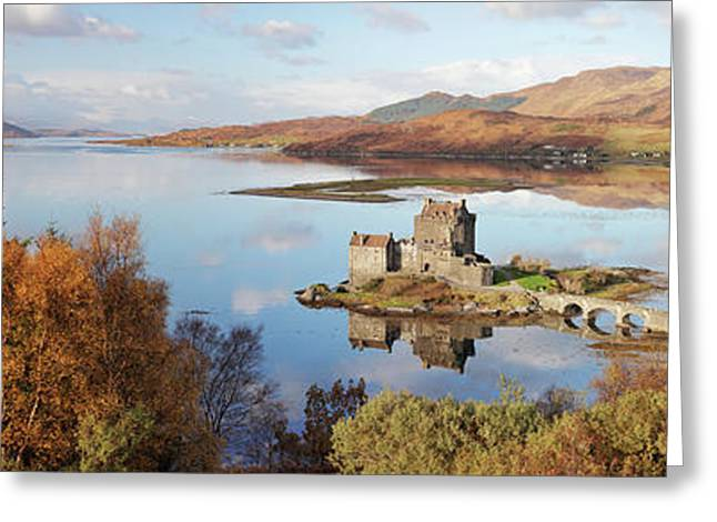 Eilean Donan Castle Panorama In Autumn Greeting Card by Grant Glendinning