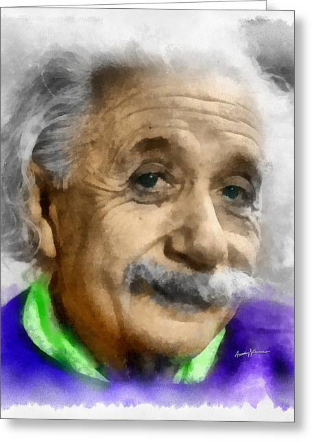 Mustaches Digital Greeting Cards - Einstein Greeting Card by Anthony Caruso