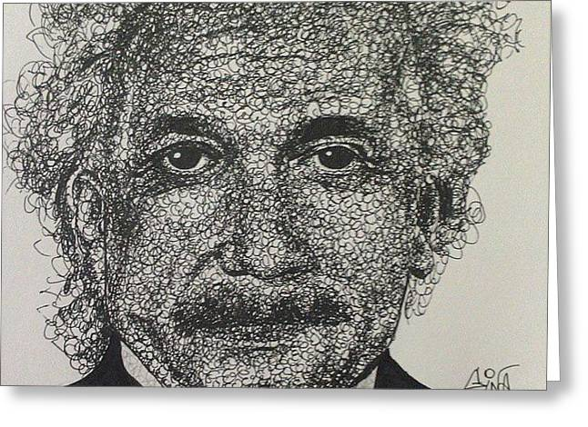 Clever Mixed Media Greeting Cards - Einstein Greeting Card by Eugenia Calin