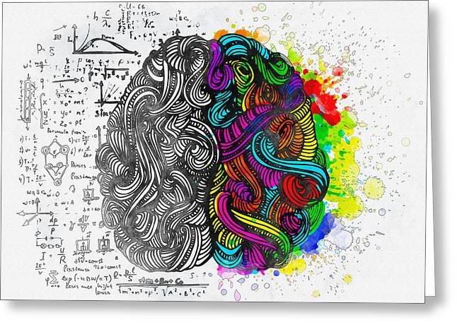 Print On Canvas Greeting Cards - Einstein - Focus with your brain Greeting Card by Don Kuing