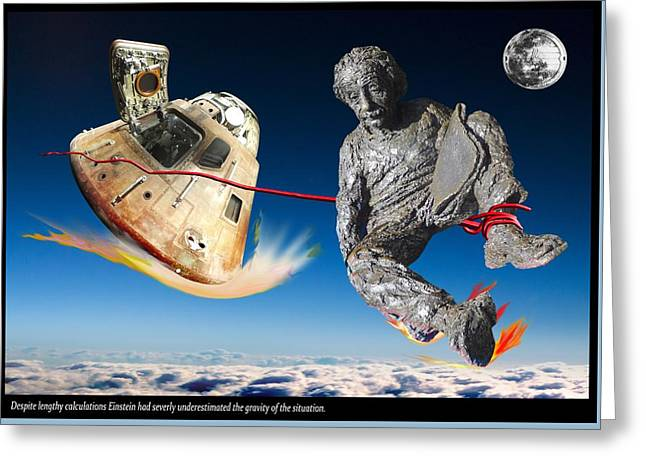 Capsule Greeting Cards - Einstein gets it Wrong Greeting Card by Chas Hauxby