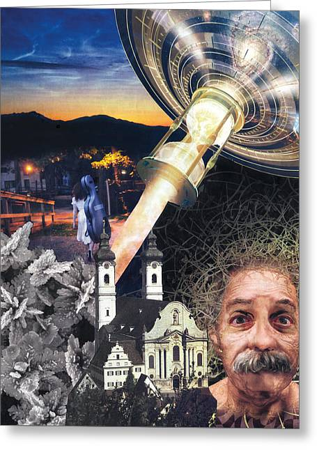 Walking Down The Street Greeting Cards - Einstein Time Greeting Card by Oliver Hanstein