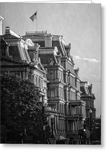 Eisenhower Executive Office Building In Black And White Greeting Card by Greg and Chrystal Mimbs