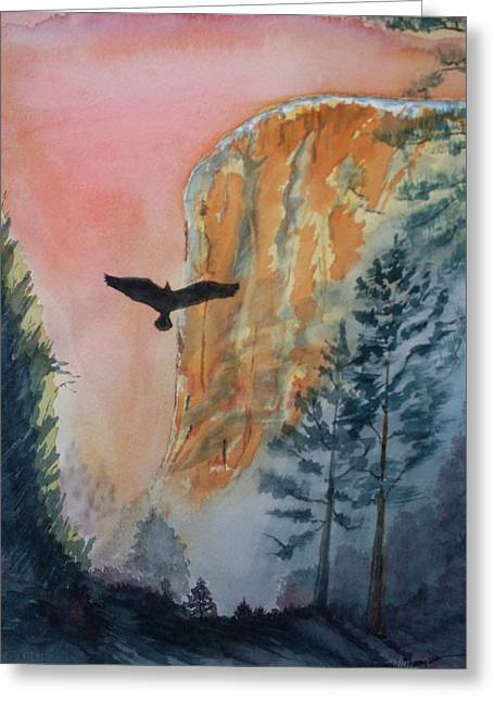 El Capitan Paintings Greeting Cards - El Capitan  Sunset Greeting Card by Warren Thompson