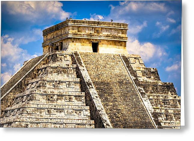 Ancient Ruins Greeting Cards - El Castillo - Pyramid at Chichen Itza Greeting Card by Mark E Tisdale
