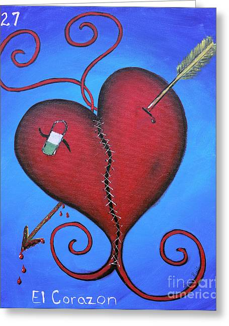 Bandaid Greeting Cards - El Corazon Greeting Card by Sonia Flores Ruiz
