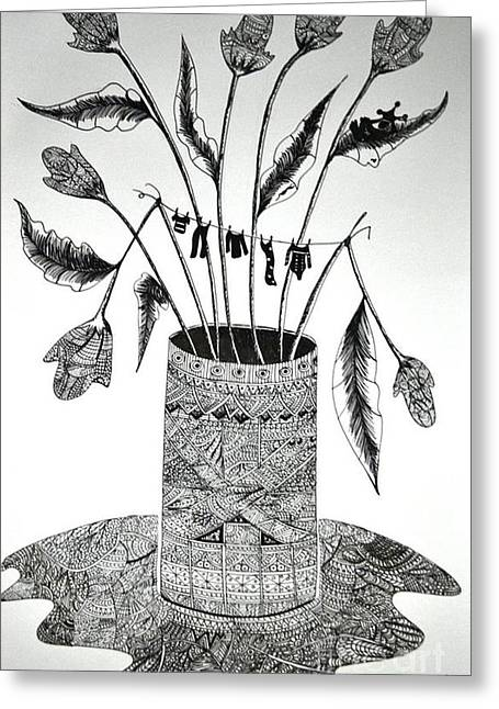 Vase Of Flowers Drawings Greeting Cards - El Dia Off Greeting Card by Lissandra neiley Molina