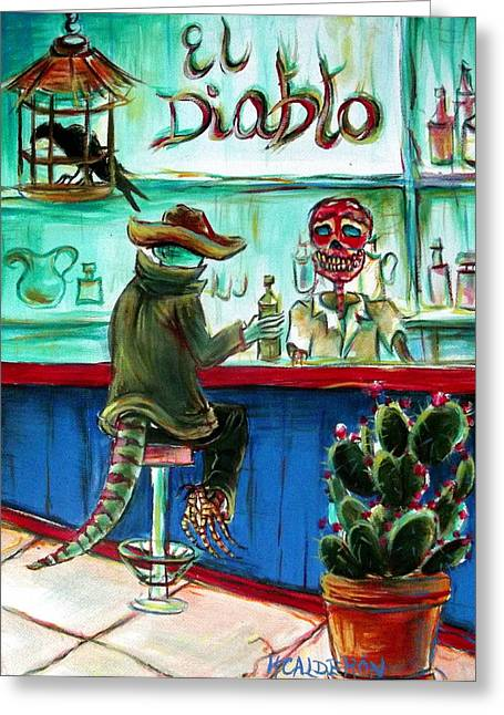 Liquor Greeting Cards - El Diablo Greeting Card by Heather Calderon